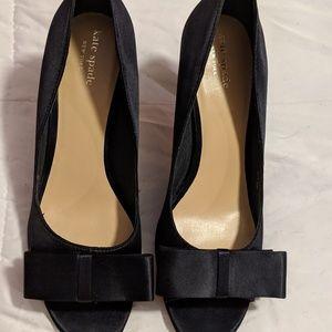 Kate Spade Matte Satin Black Peep-Toe Bow Heels